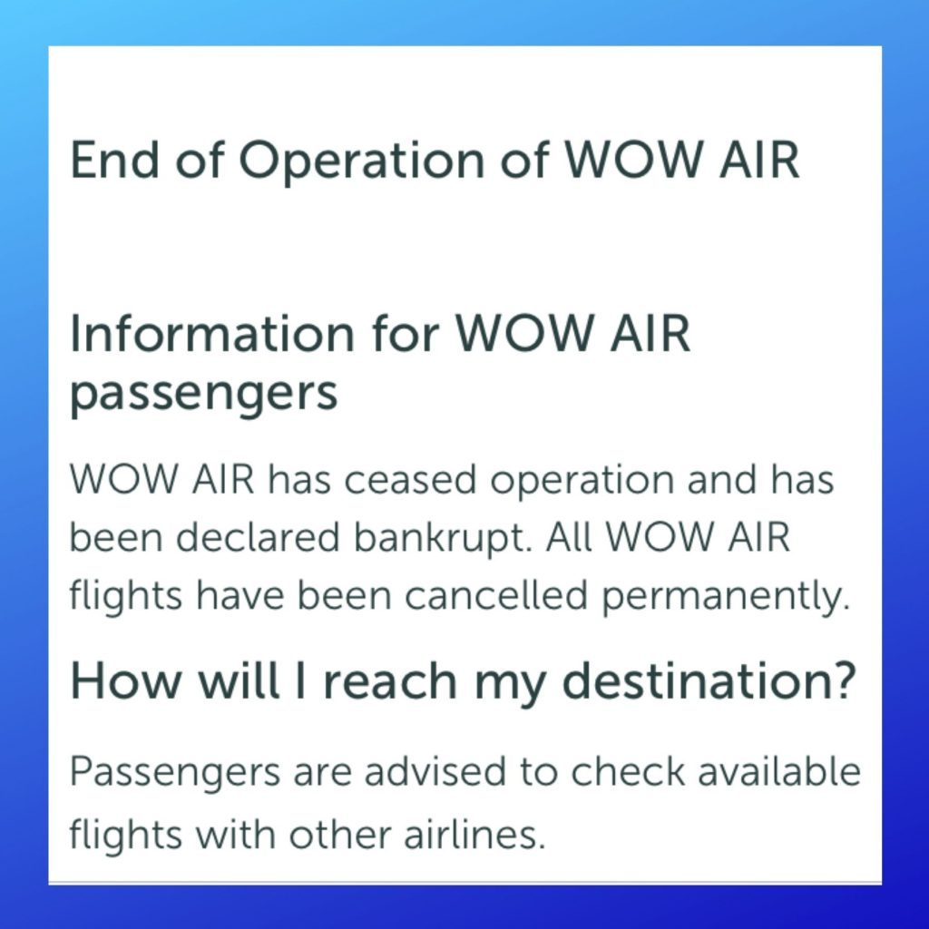 A picture of what it said on my airline's website: WOW AIR has ceased operation. I found out I can trust God in a difficult time.
