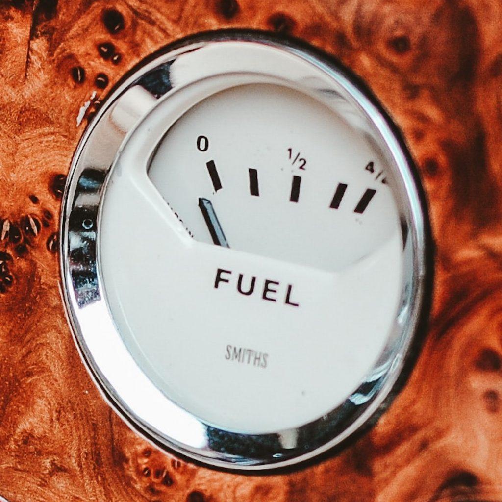 Fuel gauge on empty.